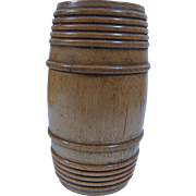 Primitive Treen Cylinder  Barrel Shaped  Spice Box