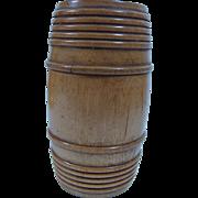 Cylinder  Barrel Shaped Treen Spice Box