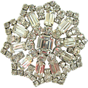 Jay Flex Sterling Clear Rhinestone Pin Brooch Mid Century