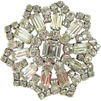Jay Flex Sterling Clear RS Pin Brooch Mid Century