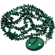 Malachite Stunning Necklace And Pendant Gold Filled
