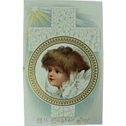 Easter  Post Card Angel Cross Never Mailed