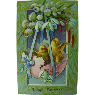 Easter Post Card Yellow Chicks Pussy Willows 1913