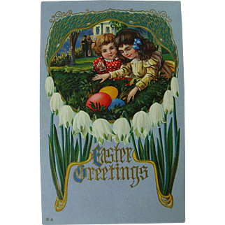 Easter Greetings Post Card Little Girls and Eggs