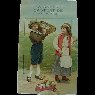 Antique Easter Post Card Mechanical Venetian Blind Pull Tab