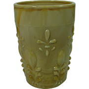 EAPG Custard Slag Tumbler Flip Indiana Glass Fleur De Lis