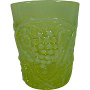 EAPG Vaseline Opalescent Palm Beach Tumbler Or Flip