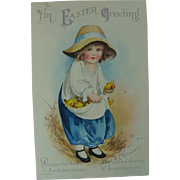 Clapsaddle Post Card Carrying Chicks In Her Apron