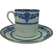 Copeland-Late-Spode Ivanhoe Blue Demi Cup and Saucer