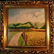 Oil On Tile Original Painting in Gilt Frame