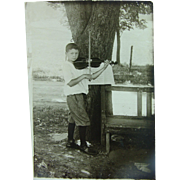 Young Violinist Fiddling Away RPPC Boy Violin Fiddle