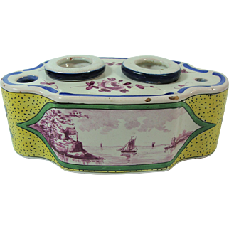 French Faience Double Encrier Nevers Region