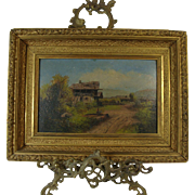 19th C .Primitive Oil On  Board  Ornate Gilt Frame