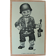 Comical Post Card Little Boy in Helmet