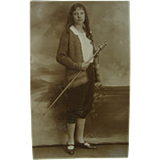 RPPC On The Boardwalk Atlantic City Foto Service Girl Cane Walking Stick