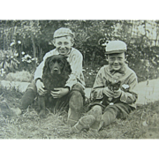 Dog Cat Two Boys Photo Post Card Circa 1910
