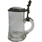 1800's German Etched Glass Porcelain and Pewter Stein Tankard