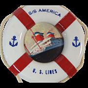 U.S. Lines S/S America Souvenir Life Buoy Mid Century