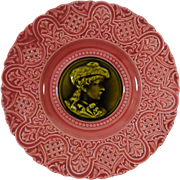 Majolica Plate Pretty In Pink Portrait In Green