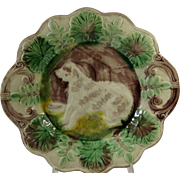 Majolica Wall Plate Handsome Shaggy Dog