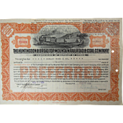 Stock Certificate Huntingdon & Broad Top Mountain Railroad & Coal Company