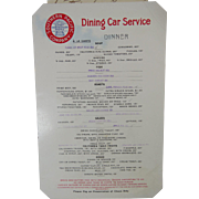 Dining Car Menu Southern Pacific Railroad Company