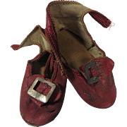 Antique Doll Shoes Red Leather Mary Janes