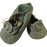 Antique Doll Shoes Blue Fabric Mary Janes