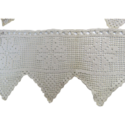 Filet Crochet 5ft 7in Of Window Valance White Vintage