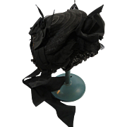 Civil War Mourning Bonnet Horsehair Lace Chiffon Straw