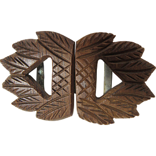 Carved Wood Dress Belt Buckle Circa 1930's Fashion