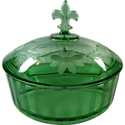 Holiday Royal Green Fostoria  3 Part Candy Dish With Lid