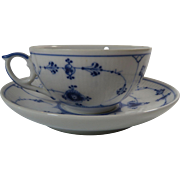Royal Copenhagen Coffee Cup And Saucer Blue White