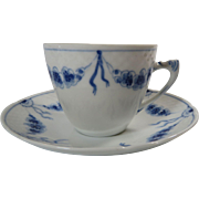 Bing And Grondahl Demitasse Cup And Saucer Blue White