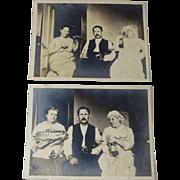1900s Joke Photo Snapshot Two Women One Man