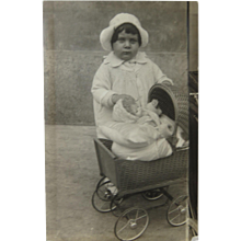 Little Girl With Her Doll And Buggy Real Photo Postcard