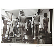 Artists Studio Class Nude Artist Clothed Model 1983 Postcard