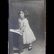 Studio Photo Image Pretty Little Girl Eyelet Dress Tiny Feet Circa 1910