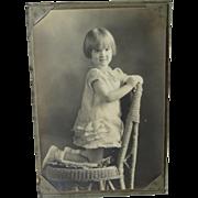 1920s Studio Photo Little Girl Wicker Chair