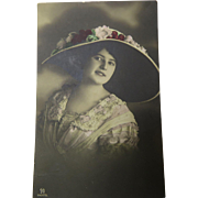 Photo Postcard Lovely Lady Large Hat Germany