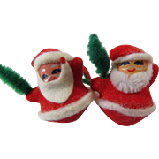 Two Roly Poly Santas Gift Package Ties 1970s