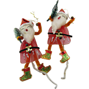 Two Big Nose Santa Gift Package Ties Ornaments 1950s