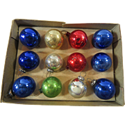 Mini 20mm Christmas Mercury Glass Ornaments Original Box 12