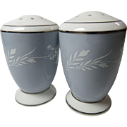 Minton Grey Cameo Salt Pepper Shakers Platinum Trim 1960s