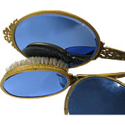 3 Piece Set 1940s Vanity Brush Mirror Powder Box Blue Mirror