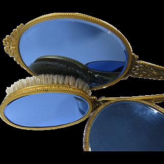 3 Piece Set 1940s Vanity Brush Mirror Powder Box Blue Mirror