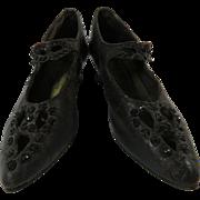 Womens Edwardian Leather Beaded Shoes Black