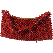 1950s Red Wooden Bead Clutch Handbag