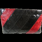 Red Black Stripe Eel Skin Clutch Handbag