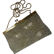 Sparkly Silvery Beaded Evening Bag Mid Century Hong Kong